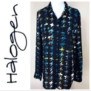 NEW HALOGEN Print Long Sleeves BLOUSE Button Down